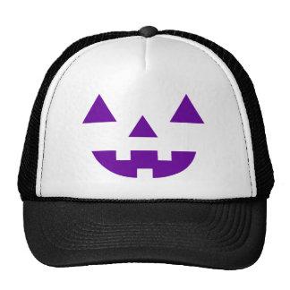Halloween Jack O Lantern Pumpkin Face Purple Trucker Hat