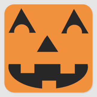 Halloween Jack O Lantern Pumpkin Face Square Sticker