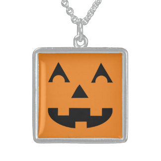 Halloween Jack O Lantern Pumpkin Face Sterling Silver Necklace