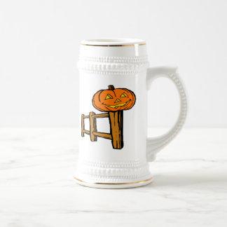 Halloween Jack-o-Lantern Pumpkin on Fence Coffee Mug