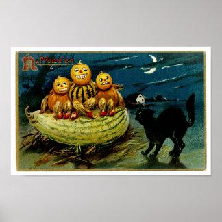 Halloween Jack-o-Lantern Pumpkin Trio Poster