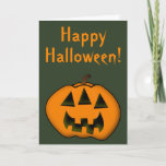 [ Thumbnail: Halloween Jack-O'-Lantern Pumpkin With 3 Eyes Card ]