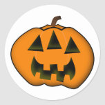 [ Thumbnail: Halloween Jack-O'-Lantern Pumpkin With 3 Eyes Round Sticker ]