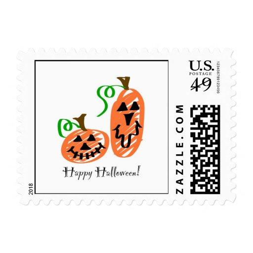 Halloween Jack-O-Lantern Pumpkins Postage Stamp