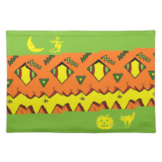 Halloween Jack-O-Lantern & Spider Cloth Placemat