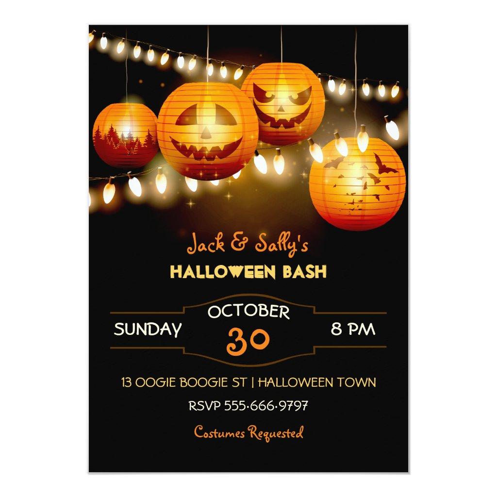Halloween Jack O Lantern String Lights Card