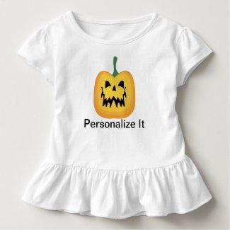 Halloween Jack o Lantern Toddler Ruffle Tee