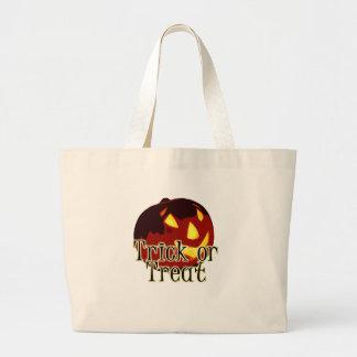 Halloween Jack O Lantern Trick or Treat Large Tote Bag