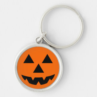 Halloween Jack-O-Lantern Trick or Treat Silver-Colored Round Keychain
