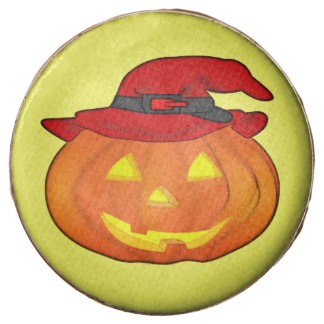 Halloween Jack-O-Lantern Wearing Witch Hat Chocolate Dipped Oreo