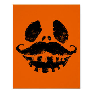 Halloween Jack-o-lantern with mustache Poster