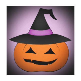 Halloween jack o lantern with witch hat canvas print