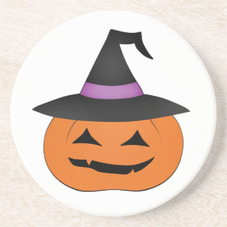 Halloween jack o lantern with witch hat drink coaster