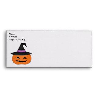 Halloween jack o lantern with witch hat envelope