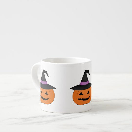 Halloween jack o lantern with witch hat espresso cup