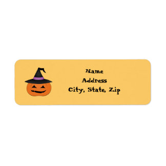Halloween jack o lantern with witch hat return address labels