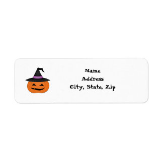 Halloween jack o lantern with witch hat labels