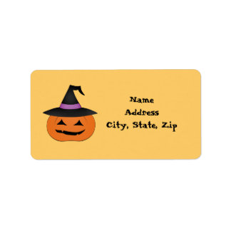 Halloween jack o lantern with witch hat custom address labels