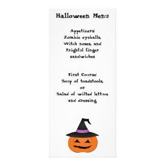 Halloween jack o lantern with witch hat menu
