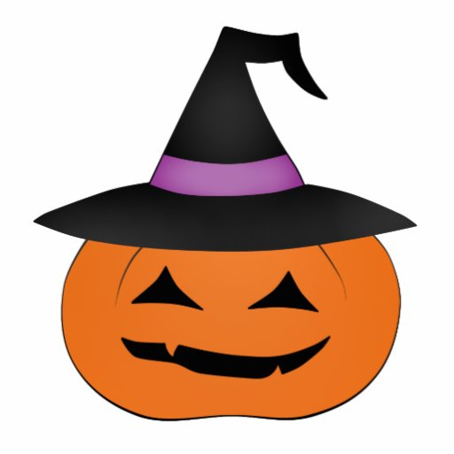Halloween jack o lantern with witch hat photo cutouts