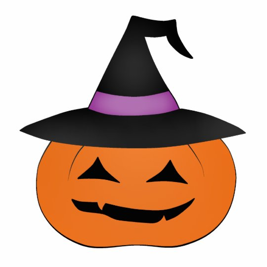 Halloween jack o lantern with witch hat statuette