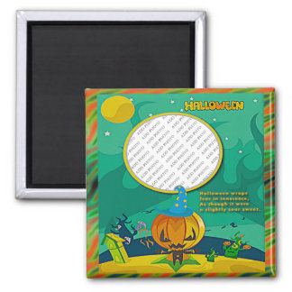 Halloween Jack o' Lantern Wizard Add Photo Frame Magnet