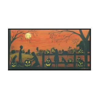 Halloween, Jack -O-Lanterns,cats,dog,farm Canvas Print