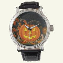 Halloween,Jack-O-Lanterns,chipmunks,autumn,leaves Wrist Watch