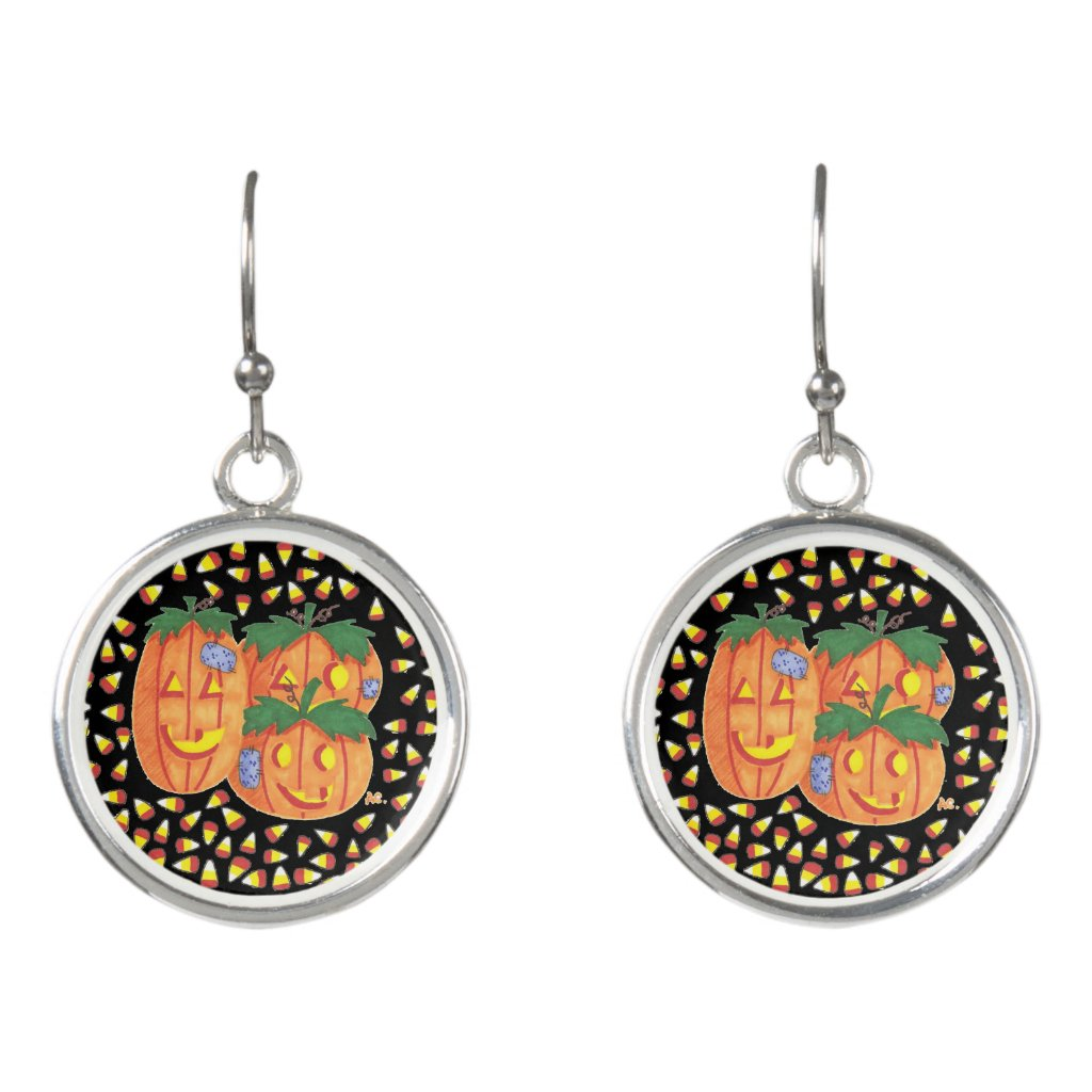 Black and orange Halloween earrings