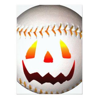 "Halloween Jack O'Lantern Baseball 5.5"" X 7.5"" Invitation Card"