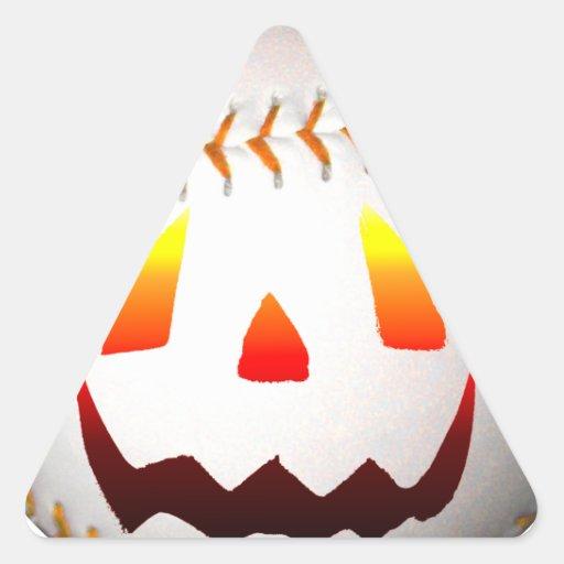 Halloween Jack O'Lantern Baseball Triangle Sticker