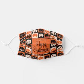 Halloween Jack O'Lantern Mosaic Cloth Face Mask
