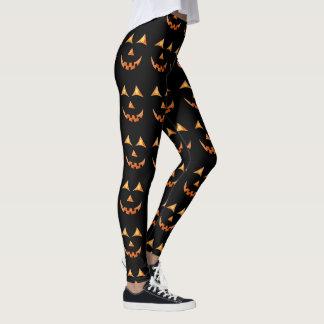 Halloween Jack O'lantern Pumpkin Face Graphic Leggings