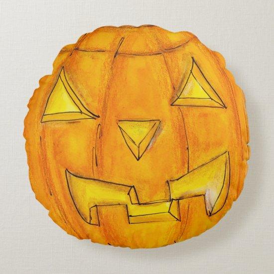 Halloween Jack O'Lantern Pumpkin Head Cute Fun Art Round Pillow