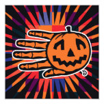 Hand shaped Halloween Jack party invitation