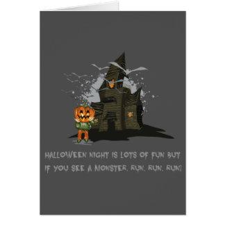 Halloween Jack, the pumpkin King haunted house Card