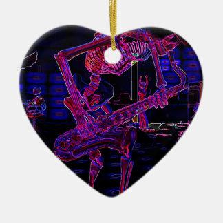 Halloween Jazz Saxophone Skeleton Musician Gifts Ceramic Ornament