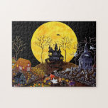 """Halloween jigsaw puzzle, haunted town jigsaw puzzle<br><div class=""""desc"""">Halloween puzzle. Art titled &quot;Keep Running&quot; by Christine Altmann</div>"""