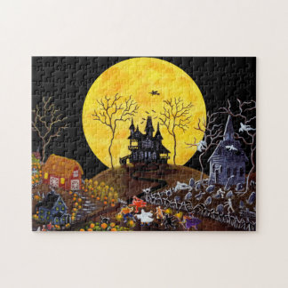 Halloween jigsaw puzzle, haunted town puzzle
