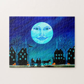 Halloween jigsaw puzzle, witches going to party puzzle