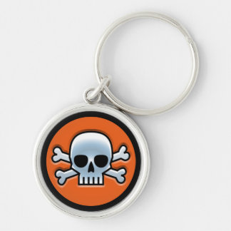 Halloween 'Jolly Roger' Silver-Colored Round Keychain