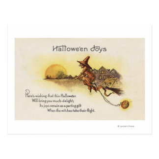 Halloween JoysWitch en la escoba Postales
