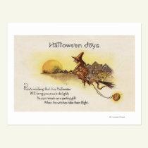 Halloween JoysWitch on Broom Postcard