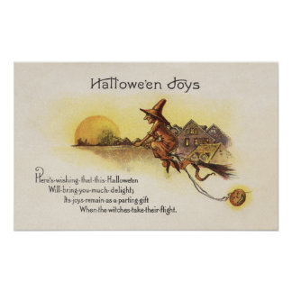Halloween JoysWitch on Broom Poster