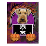 Halloween - Just a Lil Spooky - Airedale Postcard