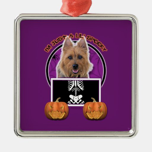 Halloween - Just a Lil Spooky - Australian Terrier Square Metal Christmas Ornament