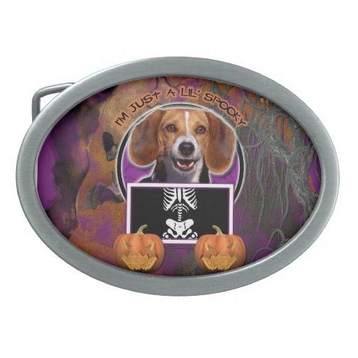 Halloween - Just a Lil Spooky - Beagle Oval Belt Buckles