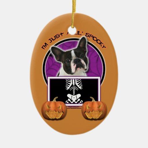 Halloween - Just a Lil Spooky - Boston Terrier Ornaments