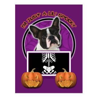 Halloween - Just a Lil Spooky - Boston Terrier Postcard