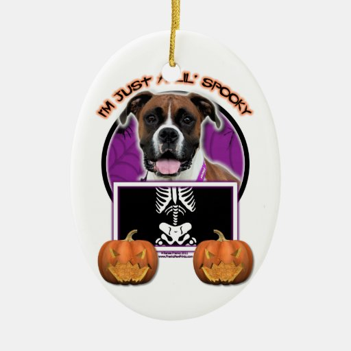 Halloween - Just a Lil Spooky - Boxer - Vindy Double-Sided Oval Ceramic Christmas Ornament